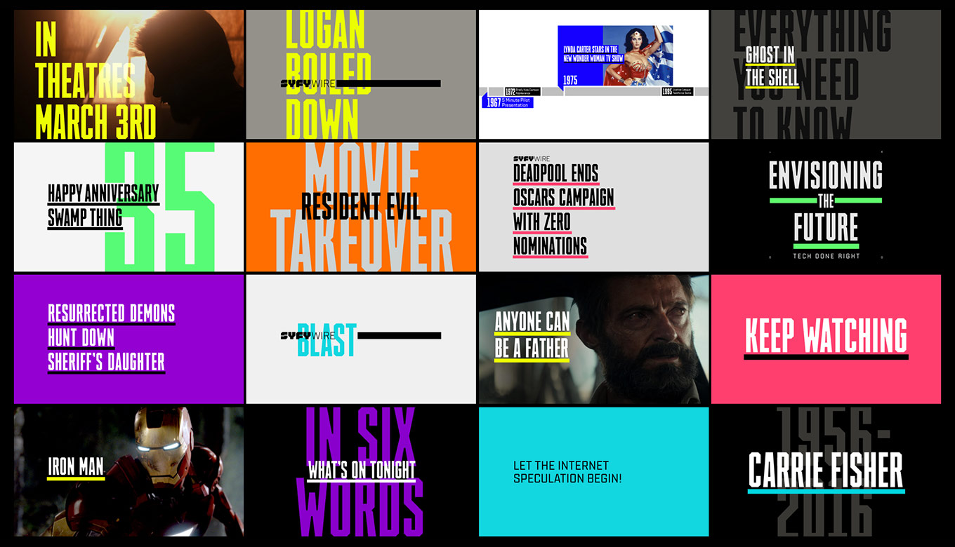 Patchwork of screens showing the custom typefaces SYFY Hero and SYFY Sidekick in use.